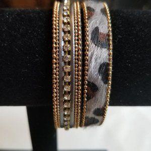 Vintage Gray Leather Animal Print Cuff Bracelet